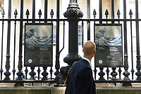 "Posters advertising the Hokusai exhibition, outside the British Museum, London, UK, June 21, 2017. ""Hokusai: beyond the Great Wave"" was an exhibition of the works of the ukiyoe woodblock print artist Katsushika Hokusai (1760-1849), held at the British Museum in London from 25 May to 13 August 2017. It focused on works from the last 30 years of the artist's life."