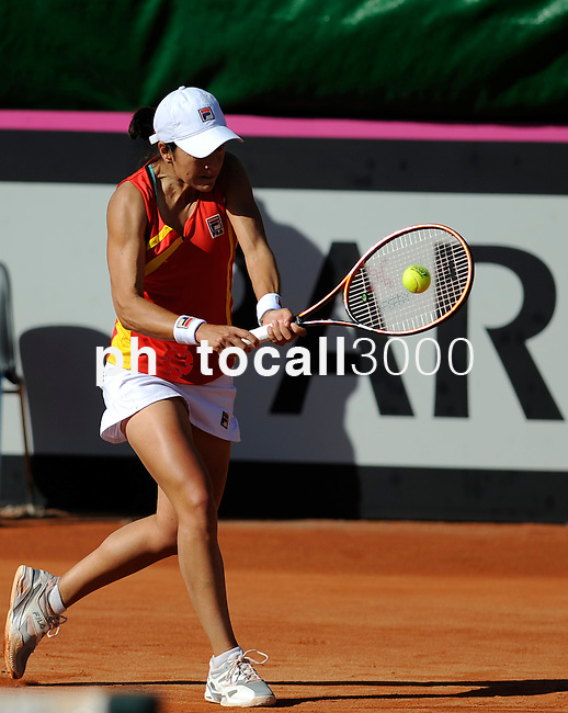 Czech Republic's Lucie Safarova returns the ball to Spain's Silvia Soler Espinosa during their 2014 International Tennis Federation Fed Cup World Group first-round tie at the Blas Infante tennis centre in Sevilla on February 10, 2014. Safarova won 6-4,1-6,3-6. <br /> PHOTOCALL3000 / GL