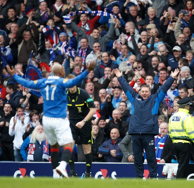 Ally McCoist celebrates as Rangers take an early lead through Jamie Ness