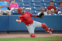 Palm Beach Cardinals catcher Jose Godoy (27) throws to first base during a game against the Charlotte Stone Crabs on April 21, 2018 at Charlotte Sports Park in Port Charlotte, Florida.  Charlotte defeated Palm Beach 5-2.  (Mike Janes/Four Seam Images)