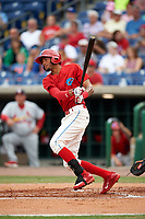 Clearwater Threshers designated hitter Jose Pujols (23) follows through on a swing during a game against the Palm Beach Cardinals on April 15, 2017 at Spectrum Field in Clearwater, Florida.  Clearwater defeated Palm Beach 2-1.  (Mike Janes/Four Seam Images)