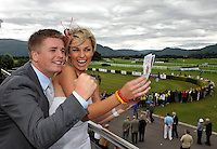 Celebrity couple Brian Ormond and Pippa O'Connor pictured at Killarney Races on Thursday where they judged the Dawn Dairies Queen of Fashion.<br /> Picture by Don MacMonagle