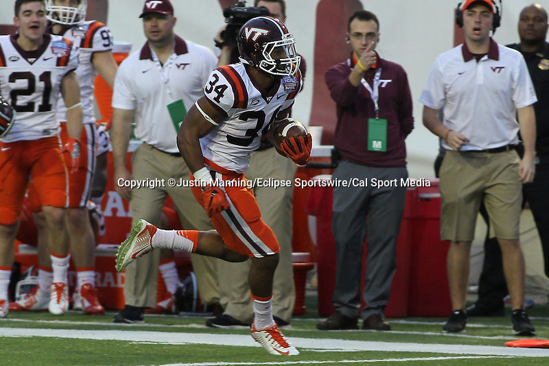 December 26, 2015: Virginia Tech WR Isaiah Ford running to the sidelines after catching a pass in the Camping World Independence Bowl at Independence Stadium in Shreveport, LA. Justin Manning/ESW/CSM