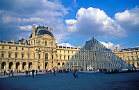 France, Paris, The Louvre and I M Pei's pyramid