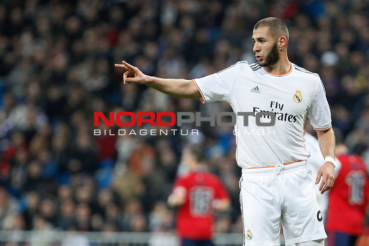 Real Madrid¬¥s Benzema during King¬¥s Cup match in Santiago Bernabeu stadium in Madrid, Spain. January 09, 2014. Foto © nph / Victor Blanco)