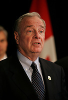October 7, 2005, File Photo - <br /> Paul Martin, Canada's Premier (L) and Stephane Dion , Canada's Environment Minister (R) both speak at a news conference on climate change<br /> <br /> <br /> <br /> Photo : (c) 2005 Pierre Roussel