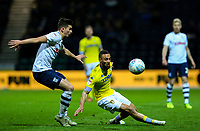 Leeds United's Kemar Roofe takes on Preston North End's Jordan Storey<br /> <br /> Photographer Alex Dodd/CameraSport<br /> <br /> The EFL Sky Bet Championship - Preston North End v Leeds United -Tuesday 9th April 2019 - Deepdale Stadium - Preston<br /> <br /> World Copyright &copy; 2019 CameraSport. All rights reserved. 43 Linden Ave. Countesthorpe. Leicester. England. LE8 5PG - Tel: +44 (0) 116 277 4147 - admin@camerasport.com - www.camerasport.com