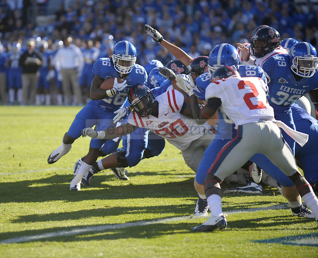 Kentucky Wildcats running back CoShik Williams (26) runs in for a touchdown during the first half of the University of Kentucky football game against Ole Miss at Commonwealth Stadium in Lexington, Ky., on 11/5/11. Uk led at half 10-6. Photo by Mike Weaver | Staff