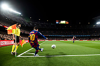 7th March 2020; Camp Nou, Barcelona, Catalonia, Spain; La Liga Football, Barcelona versus Real Sociedad; Lionel Messi of FC Barcelona takes a corner kick late in the game