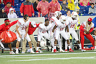 Annapolis, MD - OCT 8, 2016: Houston Cougars players dance on the sideline before a kickoff during game between Houston and Navy at Navy-Marine Corps Memorial Stadium Annapolis, MD. The Midshipmen upset #6 Houston 46-40. (Photo by Phil Peters/Media Images International)