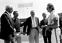 Billy Martin greets former Yankee greats, Joe DiMaggio, Roger Maris, Hank Bauerand Mickey Mantle.<br />