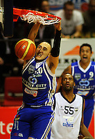 Saints forward Leon Henry slamdunks during the NBL Round 12 match between the Wellington Saints and Nelson Giants at TSB Bank Arena, Wellington, New Zealand on Thursday 15 May 2008. Photo: Dave Lintott / lintottphoto.co.nz