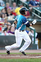 Rochester Red Wings infielder Mike Hollimon #11 at bat during a game against the Indianapolis Indians at Frontier Field on June 18, 2011 in Rochester, New York.  Rochester defeated Indianapolis 12-7 on Star Wars night where the team wore special jerseys.  (Mike Janes/Four Seam Images)