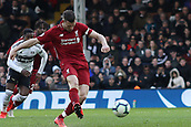 17th March 2019, Craven Cottage, London, England; EPL Premier League football, Fulham versus Liverpool; James Milner of Liverpool  scores from the penalty spot for 1-2 in the 81st minute