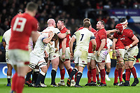 Rob Evans of Wales celebrates into the face of opposite number Dan Cole of England. Natwest 6 Nations match between England and Wales on February 10, 2018 at Twickenham Stadium in London, England. Photo by: Patrick Khachfe / Onside Images