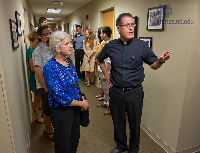 Sept. 12, 2013; Rev. Paul Kollman, C.S.C., director of the Center for Social Concerns, shows Martha Hennessey, Granddaughter of Dorothy Day, the Dorothy Day room in Geddes Hall.<br /> <br /> Photo by Matt Cashore/University of Notre Dame