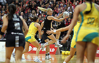 01.09.2010 Silver Ferns Laura Langman in action during the Silver Ferns v Australia New World netball test match in Wellington. Mandatory Photo Credit ©Michael Bradley.