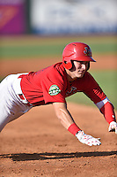 Johnson City Cardinals designated hitter Andrew Knizner (48) slides into third during a game against the Elizabethton Twins at Howard Johnson Field at Cardinal Park on June 26, 2016 in Johnson City, Tennessee. The Twins defeated the Cardinals 13-12. (Tony Farlow/Four Seam Images)