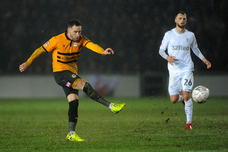Newport County's Robbie Willmott during the game <br /> <br /> Photographer Ian Cook/CameraSport<br /> <br /> Emirates FA Cup Fourth Round Replay - Newport County v Middlesbrough - Tuesday 5th February 2019 - Rodney Parade - Newport<br />  <br /> World Copyright &copy; 2019 CameraSport. All rights reserved. 43 Linden Ave. Countesthorpe. Leicester. England. LE8 5PG - Tel: +44 (0) 116 277 4147 - admin@camerasport.com - www.camerasport.com