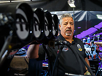 Feb 9, 2018; Pomona, CA, USA; Joe Barlam ,  crew chief for NHRA top fuel driver Leah Pritchett during qualifying for the Winternationals at Auto Club Raceway at Pomona. Mandatory Credit: Mark J. Rebilas-USA TODAY Sports