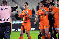 Nicolas Sanchez celebrates after winning the Super Rugby match between the Chiefs and Jaguares at Rotorua International Stadum in Rotorua, New Zealand on Friday, 4 May 2018. Photo: Dave Lintott / lintottphoto.co.nz