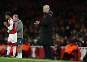 7th December 2017, Emirates Stadium, London, England; UEFA Europa League football, Arsenal versus BATE Borisov; Arsenal manager Arsene Wenger applauds Theo Walcott of Arsenal as he is subbed off for Reiss Nelson of Arsenal
