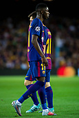 12th September 2017, Camp Nou, Barcelona, Spain; UEFA Champions League Group stage, FC Barcelona versus Juventus; Leo Messi of FC Barcelona and Ousmane Dembélé of FC Barcelona during the match