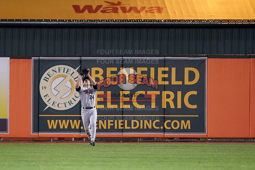 Tri-City ValleyCats outfielder Pat Porter (24) catches the final out of the a game against the Aberdeen Ironbirds on August 6, 2015 at Ripken Stadium in Aberdeen, Maryland.  Tri-City defeated Aberdeen 5-0 in a combined no-hitter.  (Mike Janes/Four Seam Images)