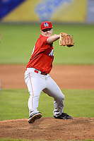 Auburn Doubledays pitcher Mike Mudron #29 during a game against the Batavia Muckdogs on June 18, 2013 at Dwyer Stadium in Batavia, New York.  Batavia defeated Auburn 10-2.  (Mike Janes/Four Seam Images)