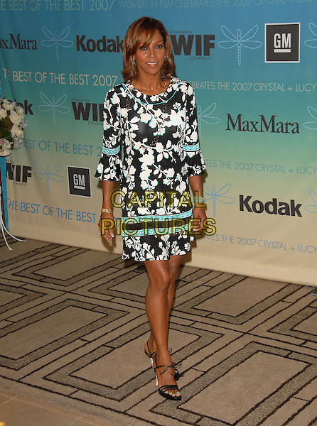 HOLLY ROBINSON PEETE.The Women in Film's 2007 Crystal & Lucy Awards, The Best of The Best of 2007 held at The Beverly Hilton Hotel in Beverly Hills, California, USA..June 14th, 2007.full length white black turquoise blue detail print dress.CAP/DVS.©Debbie VanStory/Capital Pictures