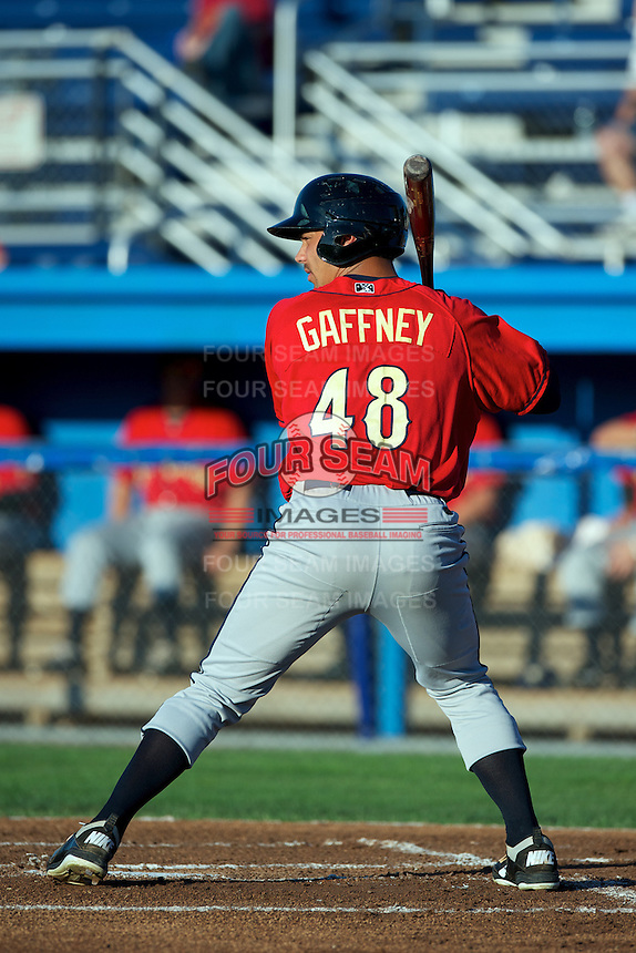 State College Spikes outfielder Tyler Gaffney #48 during a game against the Batavia Muckdogs at Dwyer Stadium on August 7, 2012 in Batavia, New York.  State College defeated Batavia 4-2.  (Mike Janes/Four Seam Images)
