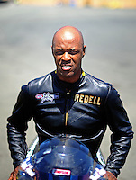 Jul. 17, 2010; Sonoma, CA, USA; NHRA pro stock motorcycle rider Redell Harris during qualifying for the Fram Autolite Nationals at Infineon Raceway. Mandatory Credit: Mark J. Rebilas-