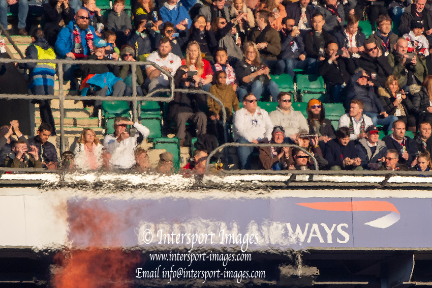 Twickenham, United Kingdom, Saturday, 17th  November 2018, RFU, Rugby, Stadium, England,  spectators, hidden in the vapors, of the Pyro'e, Pyrotecnics, before the start,Quilter Autumn International, England vs Japan, © Peter Spurrier