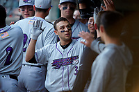 Nick Madrigal (3) of the Winston-Salem Dash is greeted by his teammates after hitting his first professional home run against the Myrtle Beach Pelicans at TicketReturn.com Field on May 16, 2019 in Myrtle Beach, South Carolina. The Dash defeated the Pelicans 6-0. (Brian Westerholt/Four Seam Images)