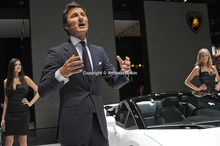 Lamborghini CEO Stephan Winkelmann delivers a speech during the Lamborghini presentation at the Detroit Auto Show in Detroit, Michigan on January 11, 2009.