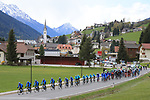 The Peloton led by Team Gazprom Rusvelo is passing in Sillian, on April 18, 2017. Start of the second stage of the cycling race Tour of the Alps from Innsbruck to Innervillgraten have been shorten with a start in Vipiteno due to weather conditions. © Pierre Teyssot