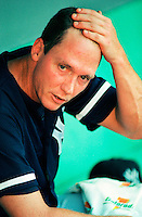 David Cone of the New York Yankees at Anaheim Stadium in Anaheim,California during the 1996 season. (Larry Goren/Four Seam Images)