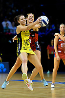 Pulse&rsquo; Karin Burger and Tactix&rsquo; Kate Beveridge  in action during the ANZ Premiership - Pulse v Tactix at TSB Arena, Wellington, New Zealand on Monday 14 May 2018.<br /> Photo by Masanori Udagawa. <br /> www.photowellington.photoshelter.com