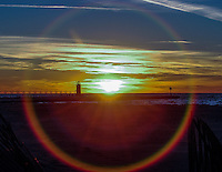 Sunset, South Haven, Michigan, lighthouse, Lake Michigan, sand, water, blue, yellow, orange, red, sun, winter