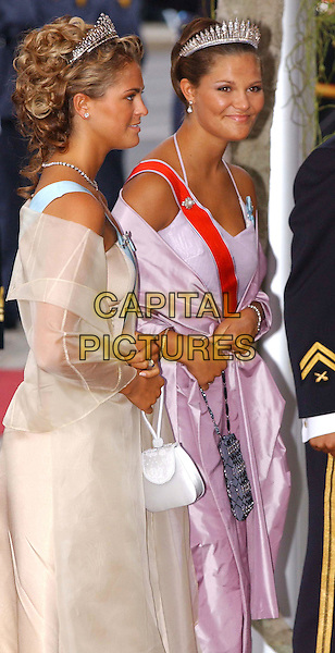 PRINCESS MADELEINE OF SWEDEN.At the wedding of  HRH Crown Prince Haakon of Norway and Miss Mette-Marit Tjessem H¿iby, Oslo Cathedral, Norway,.25th August 2001..half length tiara royalty sweedish.Ref:NO.www.capitalpictures.com.sales@capitalpictures.com.