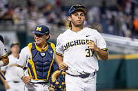 Michigan Wolverines pitcher Karl Kauffmann (37) after Game 2 of the NCAA College World Series Finals on June 25, 2019 at TD Ameritrade Park in Omaha, Nebraska. Vanderbilt defeated Michigan 4-1. (Andrew Woolley/Four Seam Images)