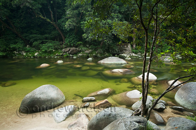 Mossman Gorge - a popular freshwater swimming area in Daintree National Park.  Mossman, Queensland, Australia
