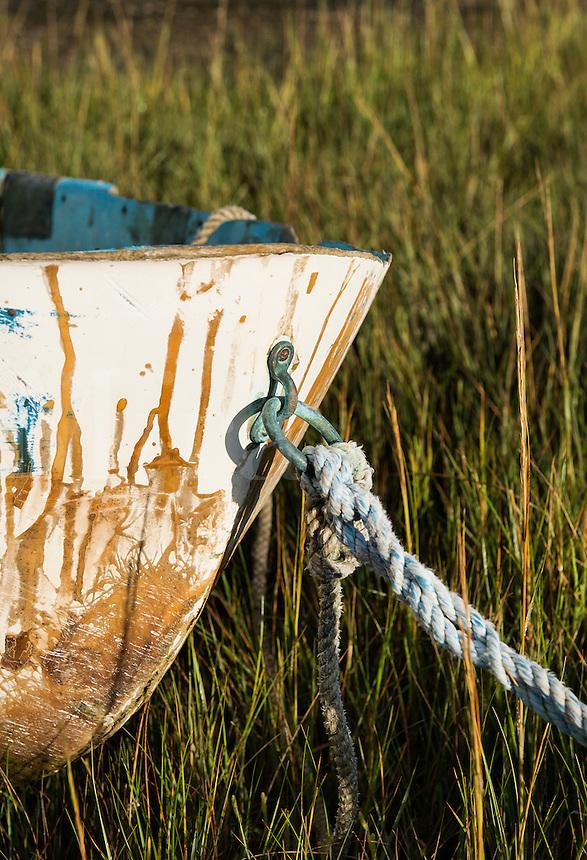 Rowboat in marsh grass, Cape Cod, Massachusetts, USA