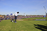 Bryson Dechambeau (Team USA) tees off the 11th tee during Saturday's Foursomes Matches at the 2018 Ryder Cup 2018, Le Golf National, Ile-de-France, France. 29/09/2018.<br /> Picture Eoin Clarke / Golffile.ie<br /> <br /> All photo usage must carry mandatory copyright credit (© Golffile | Eoin Clarke)