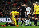 Victor Wanyama of Tottenham booked for a tackle on Richarlison of Watford during the premier league match at Wembley Stadium, London. Picture date 30th April 2018. Picture credit should read: David Klein/Sportimage