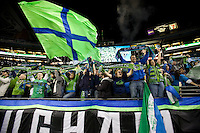 Seattle Sounders fans, in a 3-0 Seattle Sounders victory over the New Your Red Bulls, Thursday, March 19, 2009.