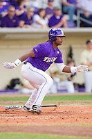 Spencer Ware #2 of the LSU Tigers follows through on his swing against the Wake Forest Demon Deacons at Alex Box Stadium on February 20, 2011 in Baton Rouge, Louisiana.  The Tigers defeated the Demon Deacons 9-1.  Photo by Brian Westerholt / Four Seam Images