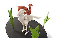 Detail of Origami model.<br /> Emu designed by Gen Hagiwara, folded by Alfred Kwan<br /> Secretary Bird designed by Roman Diaz, folded by Alfred Kwan<br /> Lichen designed by Sanja Srbljinovic Cucek, folded by Rosalind Joyce