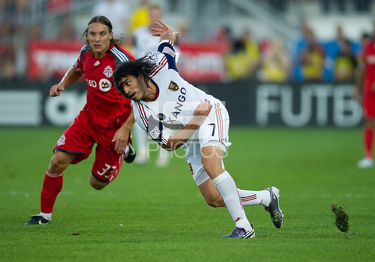 28 August 2010: Real Salt Lake forward Fabian Espindola #7 in action during a game between Real Salt Lake and Toronto FC at BMO Field in Toronto..The game ended in a 0-0 draw..