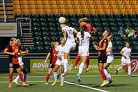 Rochester, NY - Saturday July 23, 2016: FC Kansas City midfielder Yael Averbuch (10), Western New York Flash forward Lynn Williams (9), FC Kansas City forward Shea Groom (2) during a regular season National Women's Soccer League (NWSL) match between the Western New York Flash and FC Kansas City at Rochester Rhinos Stadium.